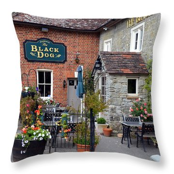 The Black Dog Pub Throw Pillow by Carla Parris