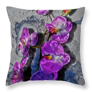 The Blue Orchid  Throw Pillow by Jerry Cordeiro