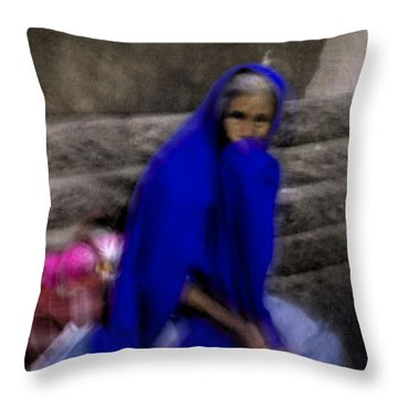 Throw Pillow featuring the photograph The Blue Shawl by Lynn Palmer