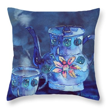 The Blue Teapot Throw Pillow by Arline Wagner