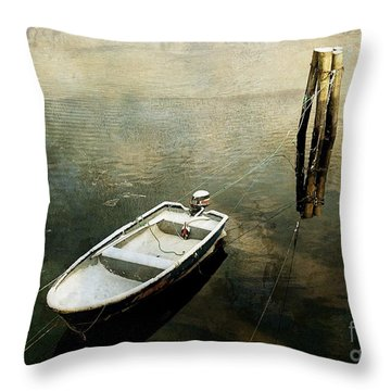 The Boat In Winter Throw Pillow