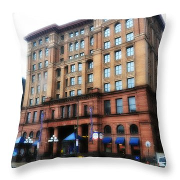 The Bourse Building Philadelphia Throw Pillow by Bill Cannon