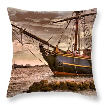 The Bow Of The Hms Bounty Throw Pillow by Debra and Dave Vanderlaan