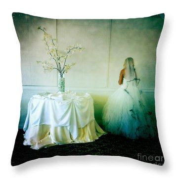 Throw Pillow featuring the photograph The Bride Takes A Moment by Nina Prommer