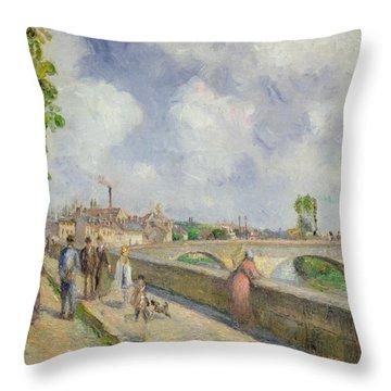 The Bridge At Pontoise Throw Pillow by Camille Pissarro