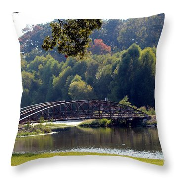 Throw Pillow featuring the photograph The Bridge by Kathy  White