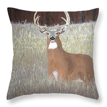 Throw Pillow featuring the painting The Buck Stops Here by Norm Starks
