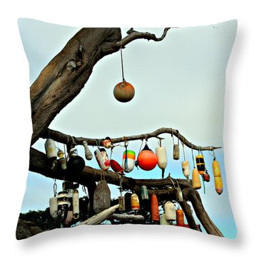 Throw Pillow featuring the photograph The Buoy Tree by Jo Sheehan