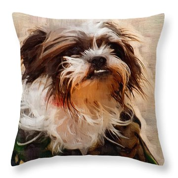The Camo Makes The Dog Throw Pillow by Kathy Clark