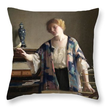 The Canary Throw Pillow by William McGregor Paxton