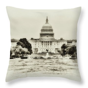 The Capital Bulding Throw Pillow by Bill Cannon