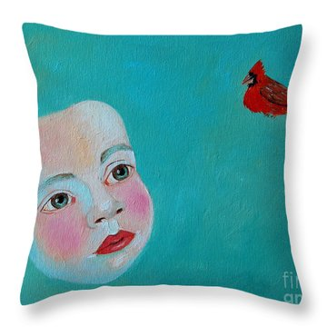 The Cardinal's Song Throw Pillow by Ana Maria Edulescu
