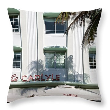 The Carlyle Hotel 2. Miami. Fl. Usa Throw Pillow