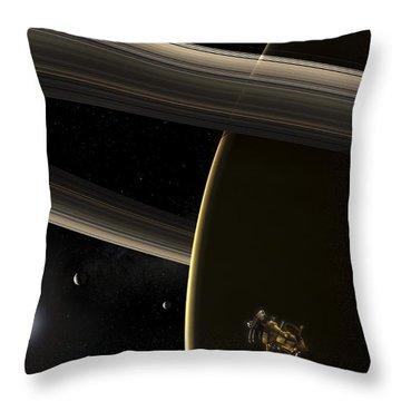The Cassini Spacecraft In Orbit Throw Pillow by Steven Hobbs
