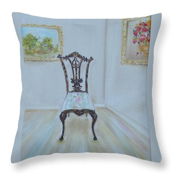 Throw Pillow featuring the painting The Chair by Judith Rhue