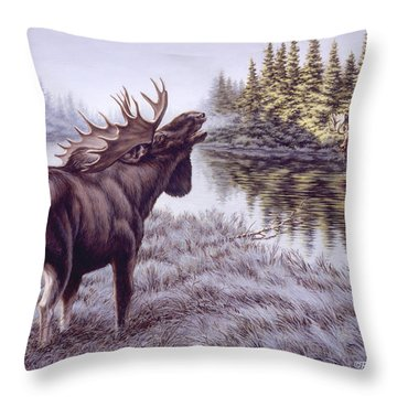 The Challenge Throw Pillow by Richard De Wolfe