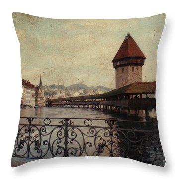 The Chapel Bridge In Lucerne Switzerland Throw Pillow by Susanne Van Hulst