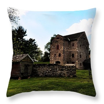 The Chicken Coop And The Barn Throw Pillow by Bill Cannon