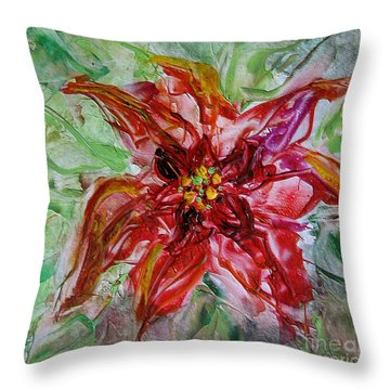 Throw Pillow featuring the painting The Christmas Poinsettia by Dragica  Micki Fortuna