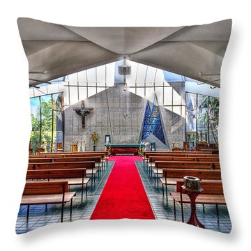 The Church Of Natural Light Hdr Throw Pillow by Douglas Barnard