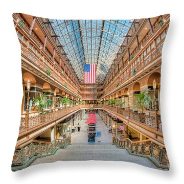 The Cleveland Arcade IIi Throw Pillow by Clarence Holmes