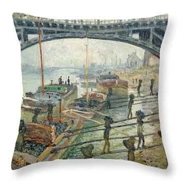 The Coal Workers Throw Pillow by Claude Monet
