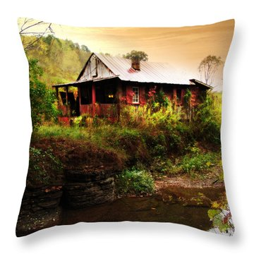 The Cottage By The Creek Throw Pillow by Lj Lambert