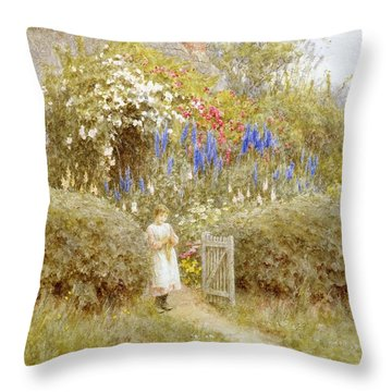 The Cottage Gate Throw Pillow by Helen Allingham