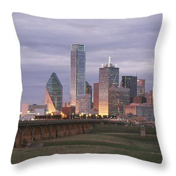 The Dallas Skyline At Dusk Throw Pillow by Richard Nowitz