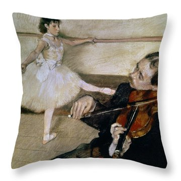 The Dance Lesson Throw Pillow by Edgar Degas