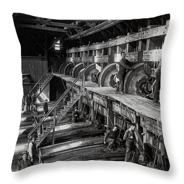The Deadwood Terra Gold Ore Stamp Mill C. 1888 Throw Pillow by Daniel Hagerman