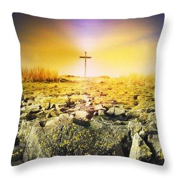 The Death Spot Of St. Cuthbert On Holy Throw Pillow by John Short