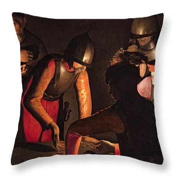 The Denial Of Saint Peter Throw Pillow by Georges De La Tour