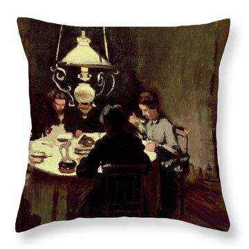 The Dinner Throw Pillow by Claude Monet