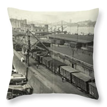 The Docks At Cologne - Germany - C. 1921 Throw Pillow by International  Images