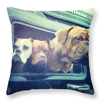 The Dog Taxi Is A Hummer Throw Pillow