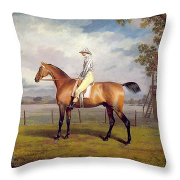 The Duke Of Hamilton's Disguise With Jockey Up Throw Pillow by George Garrard