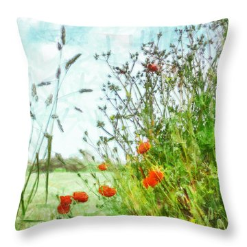 Throw Pillow featuring the digital art The Edge Of The Field by Steve Taylor