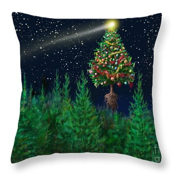 The Egregious Christmas Tree Classic Landscape Throw Pillow by Russell Kightley