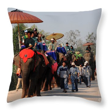 The Elephant Parade Throw Pillow by Vivian Christopher