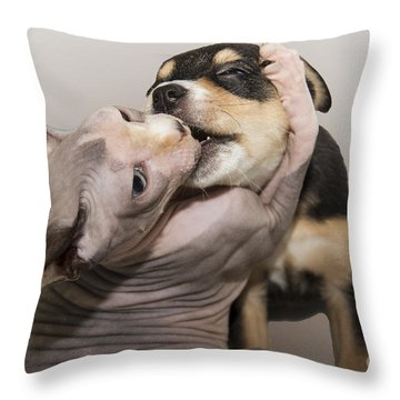 The Embrace Throw Pillow by Jeannette Hunt
