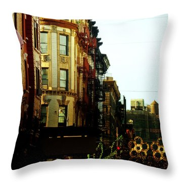 The Empire State Building And Little Italy - New York City Throw Pillow by Vivienne Gucwa