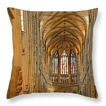 The Enormous Interior Of St. Vitus Cathedral Prague Throw Pillow by Christine Till