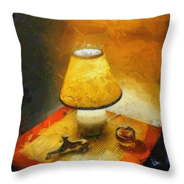 The Evening Lamp Throw Pillow