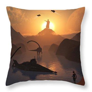 The Fabled City Of Atlantis Set Throw Pillow by Mark Stevenson