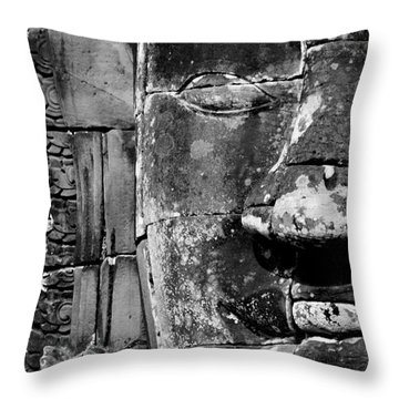 The Face Of Angkor Throw Pillow by Nola Lee Kelsey