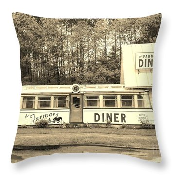 Throw Pillow featuring the photograph The Farmers Diner In Sepia by Sherman Perry