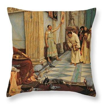 The Favourites Of Emperor Honorius Throw Pillow by John William Waterhouse