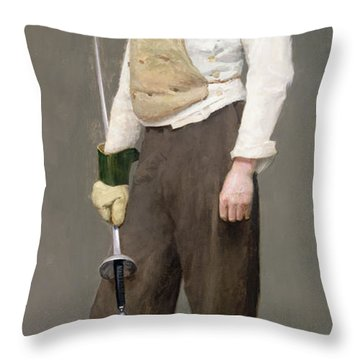 The Fencing Master Throw Pillow by Julius Gari Melchers