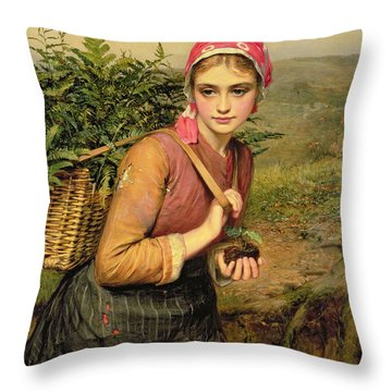 The Fern Gatherer Throw Pillow by Charles Sillem Lidderdale